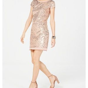 Vince Camuto Short Sleeve Sequined Shift Dress
